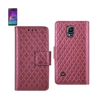 REIKO SAMSUNG GALAXY NOTE 4 RHOMBUS WALLET CASE IN HOT PINK