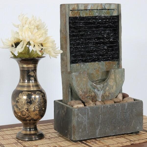 Sunnydaze Half Moon Slate Indoor Tabletop Water Fountain 16 Inch Tall