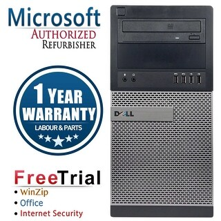 Refurbished Dell OptiPlex 7010 Tower Intel Core I5 3450 3.1G 4G DDR3 250G DVDRW Win 10 Pro 1 Year Warranty - Black