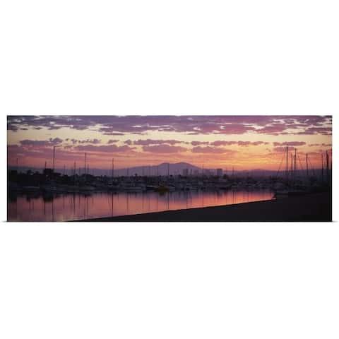 """Boats moored at a harbor, Newport Beach Harbor, Newport Beach, Saddleback Pea"" Poster Print"