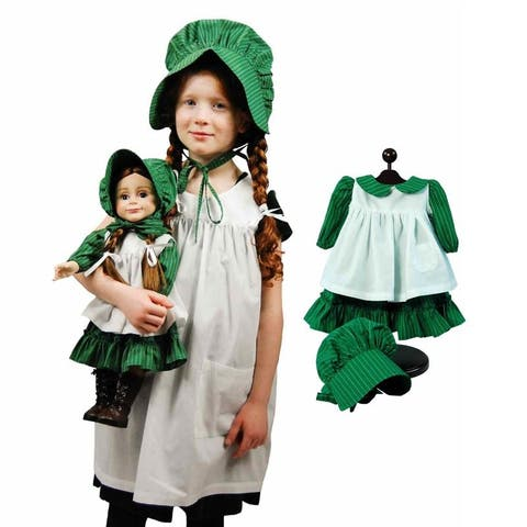 "Little House Child & Doll Dress Up Set Includes Child Sized Apron & Bonnet with 3pc 18"" Doll Prairie Doll Clothes Outfit"