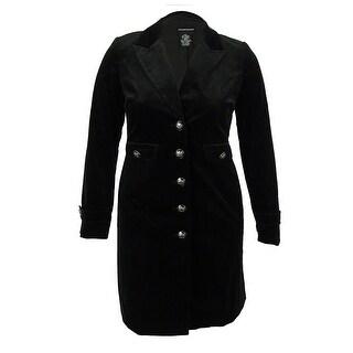 Sutton Studio Women's Velvet Military Jacket (12, Black)