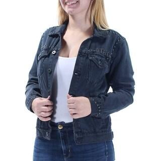 LUCKY BRAND $139 Womens 1535 Black Frayed Stay Reckless Denim Jacket S B+B