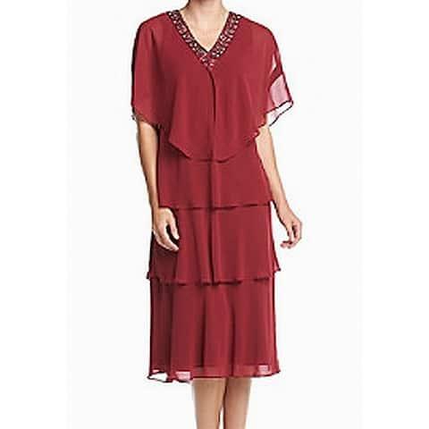 3bd2f28c5f8 SLNY Red Women s Size 10 Embellished V-Neck Chiffon Tiered Dress