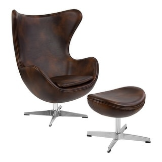 Offex Bomber Jacket Leather Egg Chair with Tilt-Lock Mechanism and Ottoman