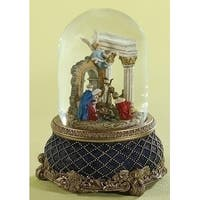 "Set of 2 Majestic Rotating Musical Nativity Christmas Snow Globe Glitterdome 8"" - BLue"