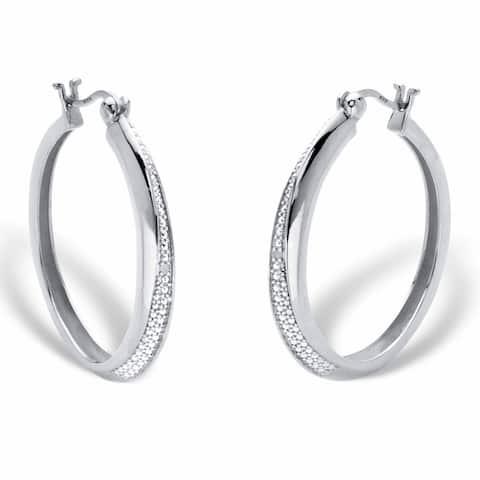 Platinum over Silver Genuine Diamond Accent Cluster Hoop Earrings