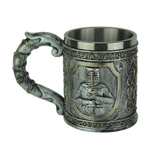 Pewter Look Templar Knight Drinking Mug With Stainless Steel Liner