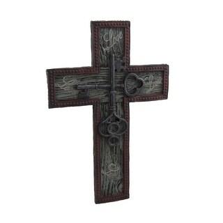 Rustic Stone Look Antique Keys Decorative Wall Cross