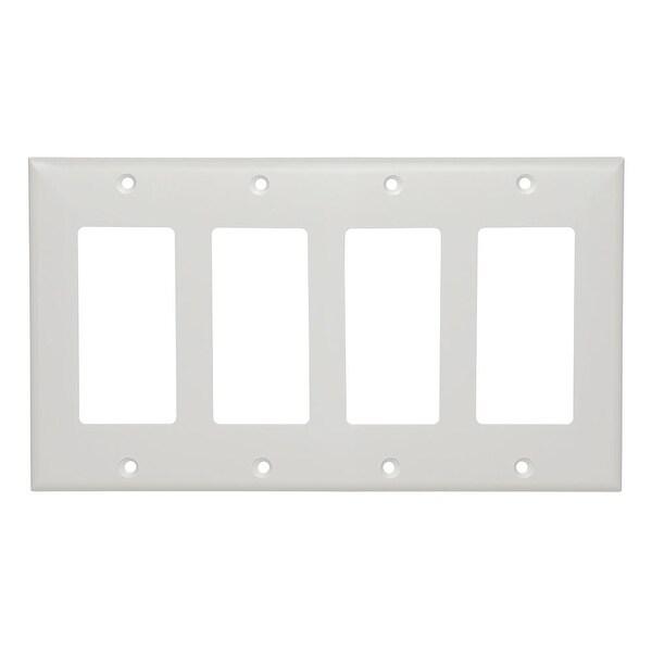 White Decora Wall Plate - 4-Gang