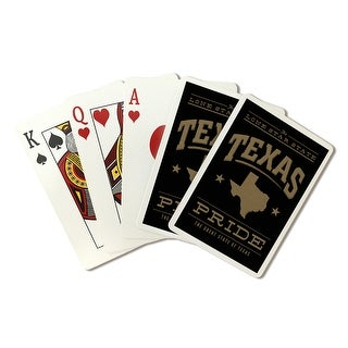 Texas State Pride - Gold on Black - Lantern Press Artwork (Playing Card Deck - 52 Card Poker Size with Jokers)