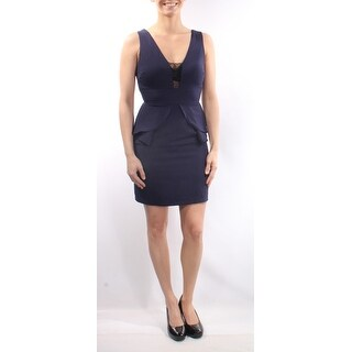 CITY STUDIO 1186 Womens 1098 Navy V Neck Sleeveless Peplum Evening Dress 3 B+B