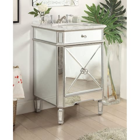 Benton Collection Asger Silver Mirrored Carrara Marble Bathroom Vanity