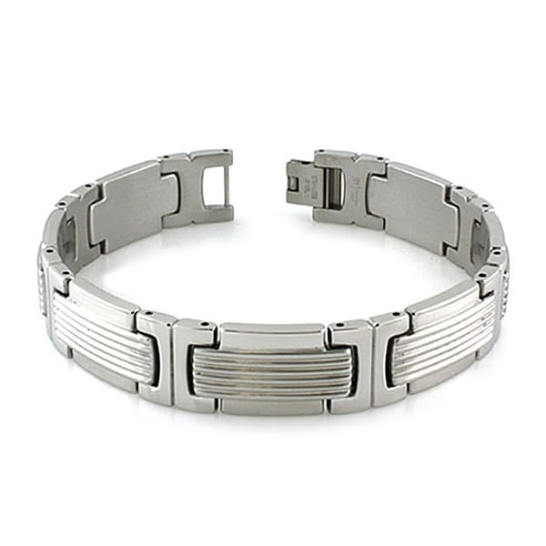Men's Grooved Stainless Steel Link Bracelet (14mm Wide) - 8.5 Inches