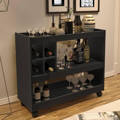 Boahaus Swansea Bar Cart, Wine Rack, Two Open Shelves