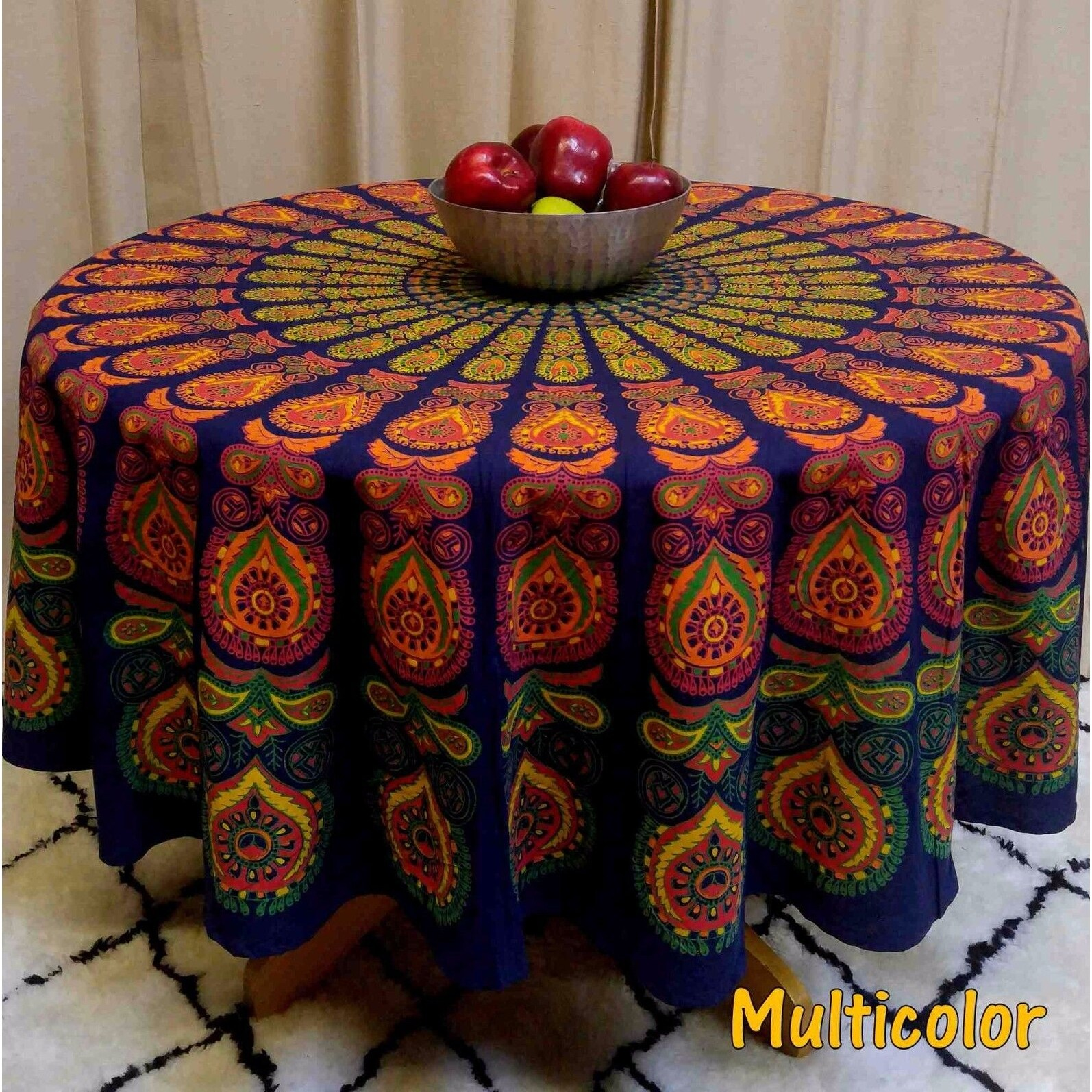 "Handmade Sanganer Peacock Mandala 72"" Round Cotton Tablecloth Gorgeous Blue Green Red - Thumbnail 7"