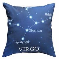 Horoscope Navy Blue Decorative Throw Pillow - Virgo