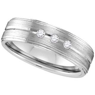 10k White Gold Mens Natural Round Diamond Brushed Wedding Anniversary Band Ring 1/10 Cttw