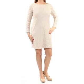 Womens Beige Long Sleeve Above The Knee Sheath Cocktail Dress Size: 14