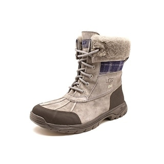 Ugg Australia Butte Youth Round Toe Leather Gray Snow Boot