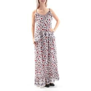 480309ac MAX STUDIO Womens White Floral Spaghetti Strap V Neck Maxi Shift Dress Size:  S