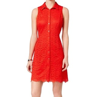 Ronni Nicole NEW Red Women's Size 12 Button Front Lace Shirt Dress