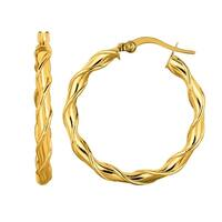 Mcs Jewelry Inc  14 KARAT YELLOW GOLD TWISTED ROUND HOOP EARRINGS (DIAMETER: 29MM)