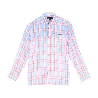 INC NEW Blue Pink Plaid Mens Size XL Button Down Collared Ombre Shirt