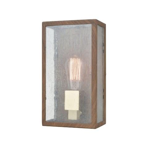 Flush Mount Rectangular One Light Outdoor Wall Sconce- Exposed Bulb Porch Light