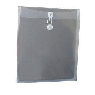 School Smart Polypropylene Top Loading Reusable String Envelope, Letter, 1-1/4 in Expansion, Clear, Pack of 12