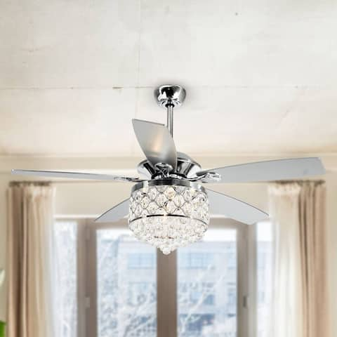 Chrome 4-Light Chandelier Crystal 5-Blade Ceiling Fan with Remote