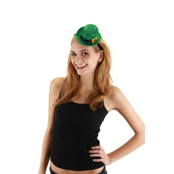 Mini Bowler Hat Leprechaun Sequin Headband - Green