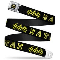 Batman Full Color Black Yellow Batman Checker Logo Black Yellow Webbing Seatbelt Belt