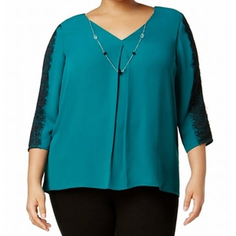 NY Collection Green Women's Size 2X Plus Necklace Lace Blouse