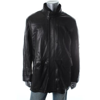 Cole Haan Mens Leather Ribbed Collar Jacket - Black