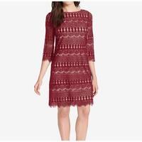 Jessica Howard Red Women's Size 16 Illusion Lace Sheath Dress