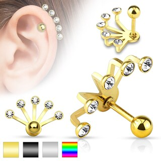 Five Crystal Set Fan Hanging 316L Surgical Steel Cartilage/Tragus Barbell (Sold Ind.) (Option: Tri-Color)