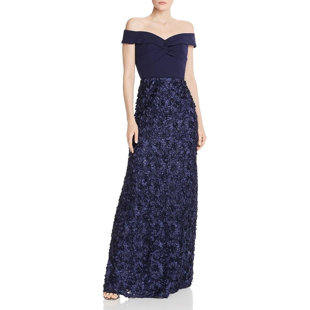 Aidan Mattox Womens Formal Dress Rosette Off-The-Shoulder - Twilight