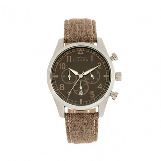 Elevon Curtiss Chronograph Leather-Band Watch - Silver/Brown