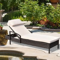 Costway Chaise Lounge Chair Brown Outdoor Wicker Rattan Couch Patio Furniture W/Pillow