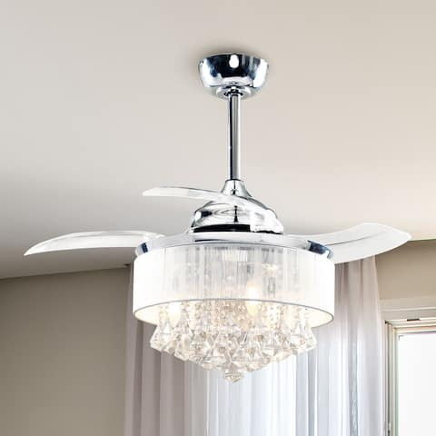 Retractable 35-inch Crystal 3-Blades Ceiling Fans Chandelier