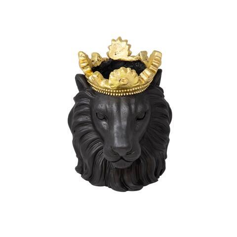 """Resin 9"""" Lion W/ Crown, Black"""