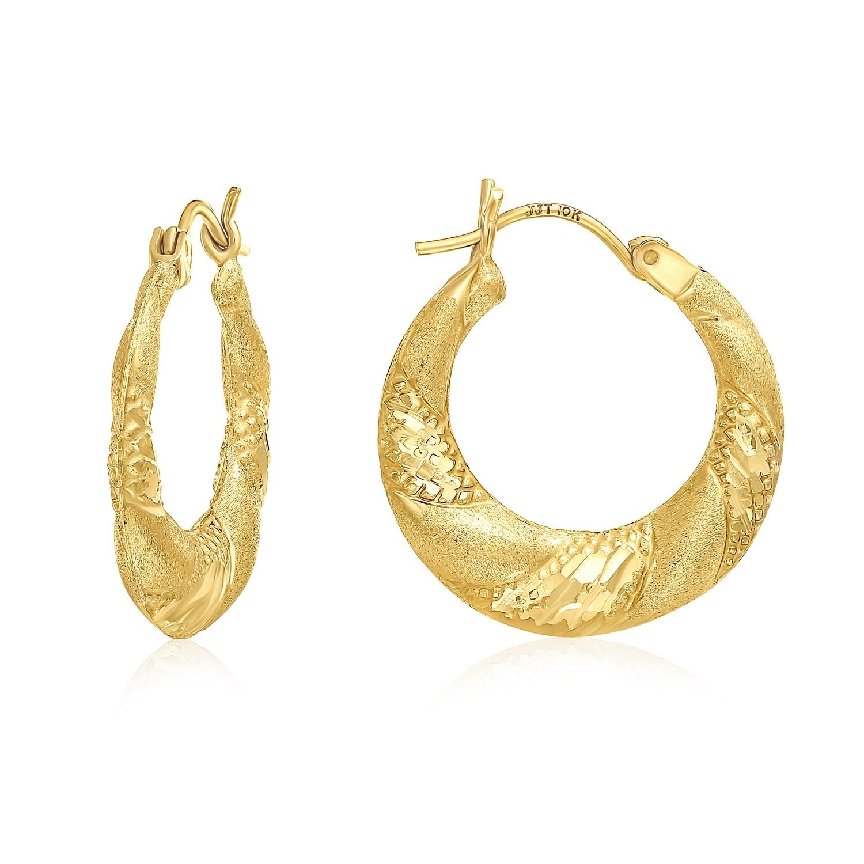 14k 14kt Yellow Gold Diamond Cut Hollow Hoop Earrings 22mm X 21mm