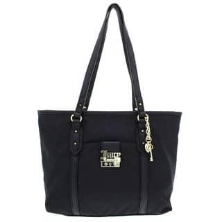 Juicy Couture Womens Rock Solid Satchel Handbag Jacquard Faux Leather Trim Medium