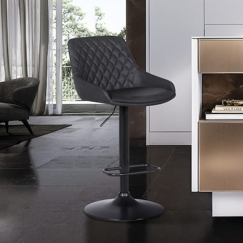 Anibal Contemporary Adjustable Faux Leather Barstool