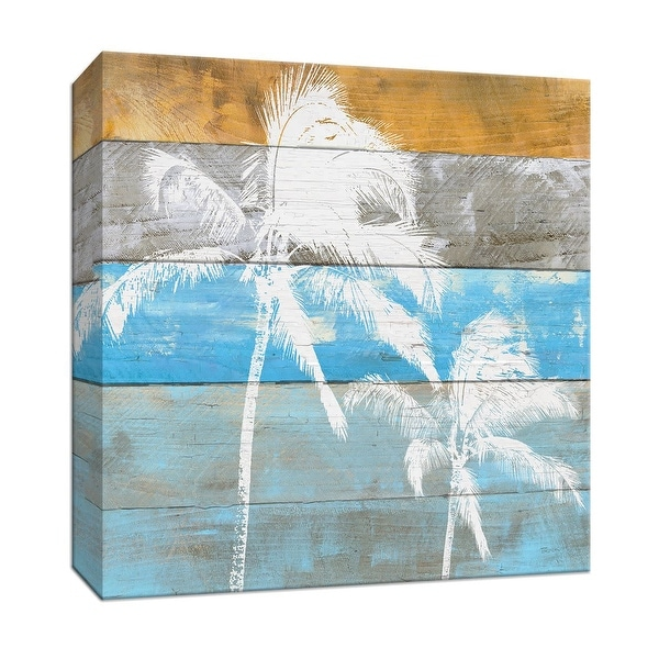 """PTM Images 9-147466 PTM Canvas Collection 12"""" x 12"""" - """"Woodgrain Palms"""" Giclee Palm Trees Art Print on Canvas"""