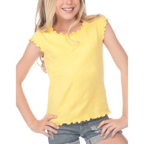 Kavio!Big Girls 7-16 Lettuce Edge Scoop Neck Cap Sleeve Top