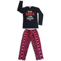 Women Cotton Top & Fleece Lined Pants Pajamas Set (Black)