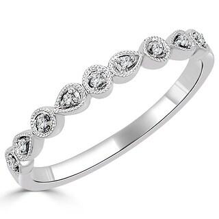 Auriya 10k Gold 0.05ctw Ultra-thin Vintage Stackable Diamond Wedding Band