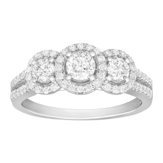 1 ct Diamond Three-Stone Ring in 14K White Gold